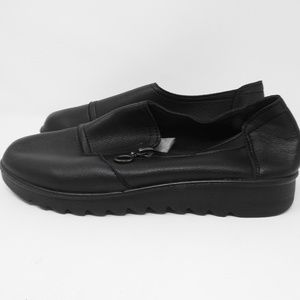 Shoes - Zipper Slip On Shoes Black Leather Size 7 NWOT